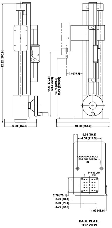 Dimensions Mechanical Force Test Stands ES30
