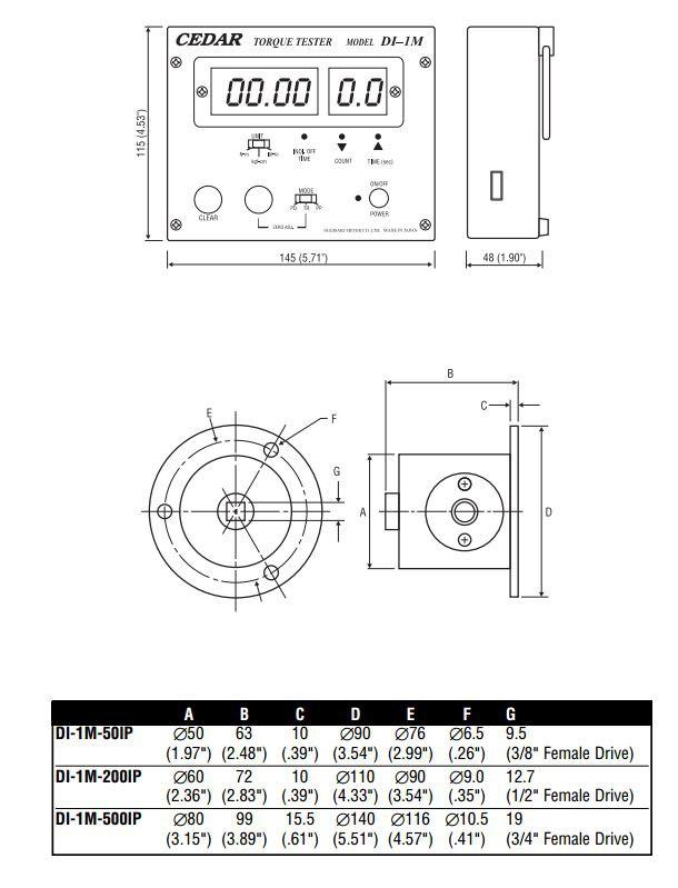 Dimensions Torque Calibration Tools DI-1M