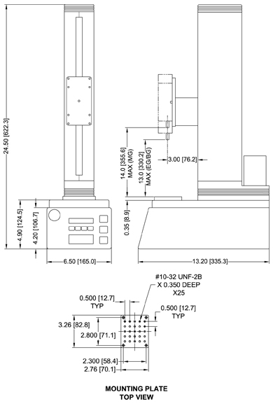 Dimensions Motorized Force Test Stands ESM301
