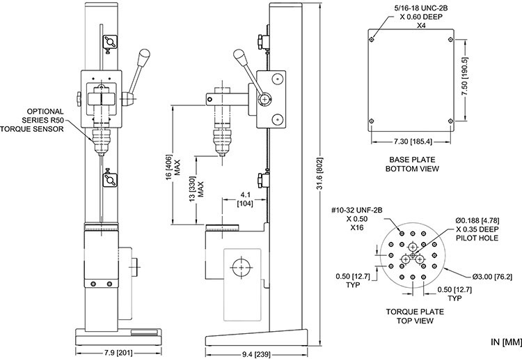 Dimensions Torque Stands TSTM-DC
