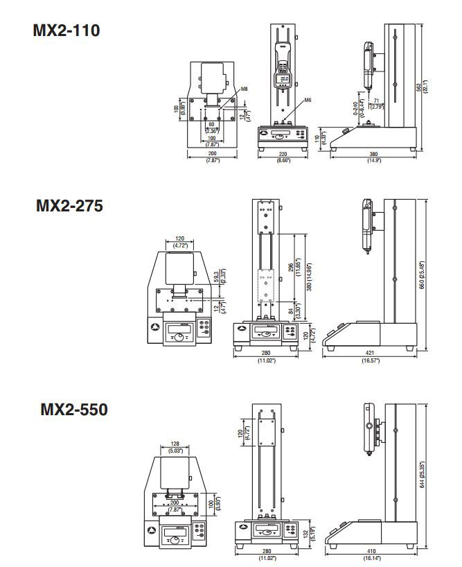 Dimensions Motorized Force Test Stands MX2